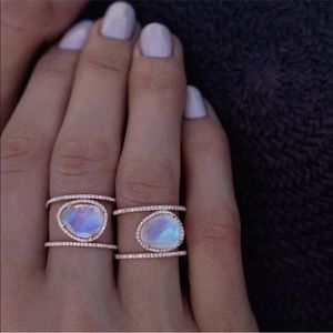 Jewelry - Moonstone and rose gold ring size 6 or 9